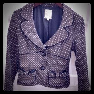 nanette lepore blazer w/bow pockets, velvet trim